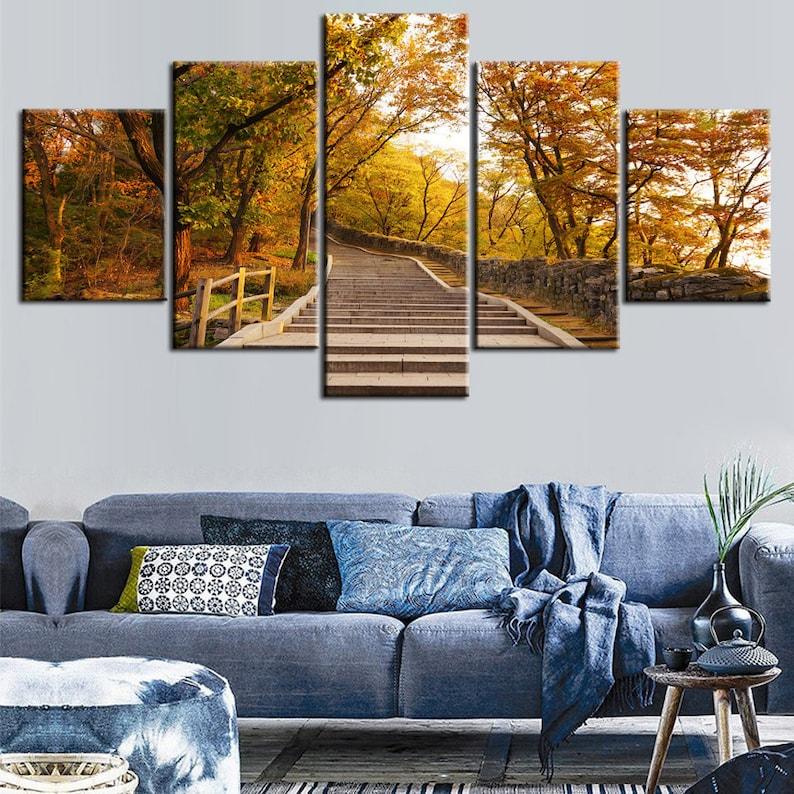 150cm x 50cm  ART PAINTING PRINT TREE modern green  canvas landscape original