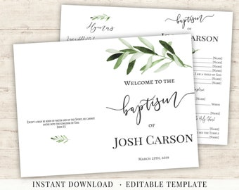 LDS Baptism Program Printable Editable Template Neutral Greenery Olive Leaves Foliage