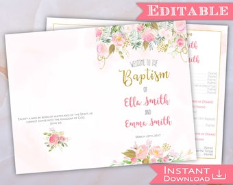 LDS Baptism Program Printable Two Names Girl Editable Template Pink Gold Watercolor Floral