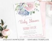 Succulents Baby Shower Invitation, Printable Baby Shower Invite, Succulents Blush Flowers, Template Editable