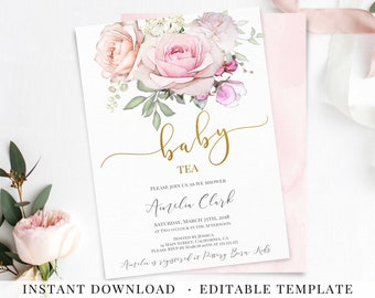 Tea party baby shower invitation etsy baby tea party invitation girl editable pdf template romantic blush pink ivory white flowers baby shower invite instant download printable filmwisefo