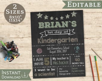 first day of school sign printable last day of school editable chalk board boy back to school 1st day of school template sign school boy