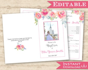Baptism Program Girl Printable With Picture Floral Watercolour Pink Editable Template Folded