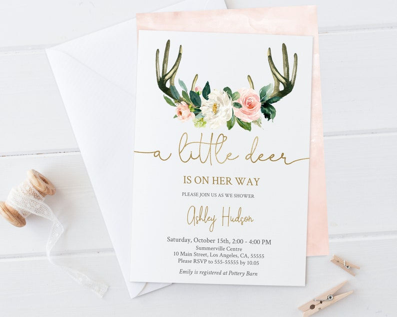 photograph relating to Deer Antler Printable Template identified as Boy or girl Shower Invitation, Printable, Youngster Shower Invitations, Lady, Editable Template Down load, Deer Antlers Horn, Dusty Blush Gold Floral, DBB04