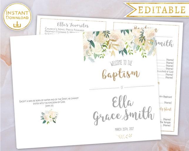 LDS Baptism Program Girl Printable Floral Gold White Watercolor Editable Template