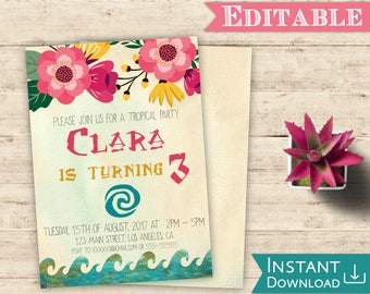 Moana Invitation Editable Tropical Birthday Party Editable PDF Template Digital Print Printable Instant Download Moana Invite