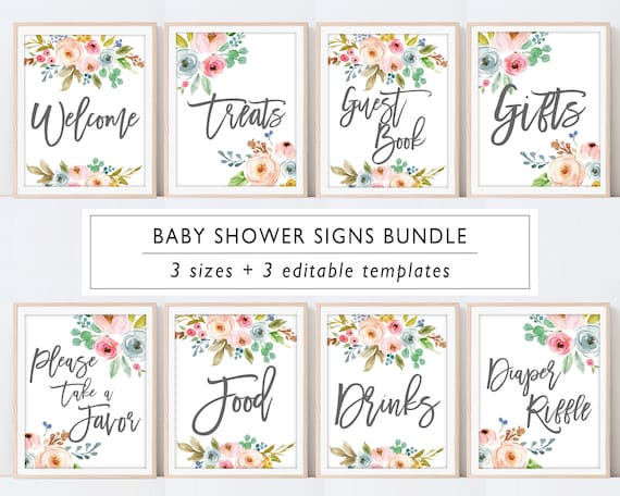 Matching Baby Shower Signs Baby Shower Sign Bundle Sign Printable Baby Shower Sign Package Christmas Baby Shower Sign Set Templates