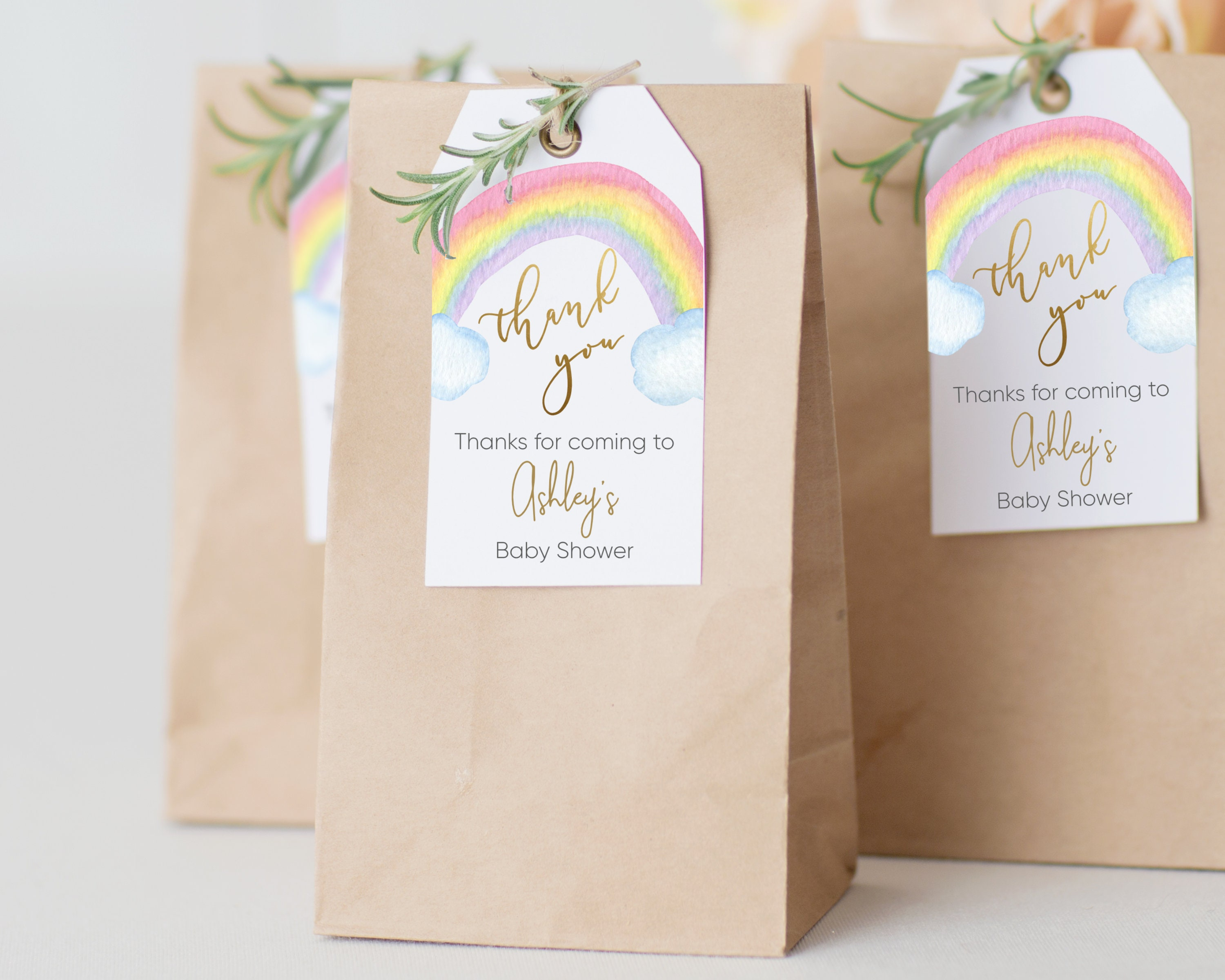 Baby Shower Favor Tags Thank You Tag Printable Rainbow Etsy