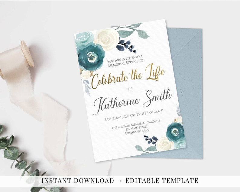 Invitation Celebration Of Life Printable Memorial Service Etsy