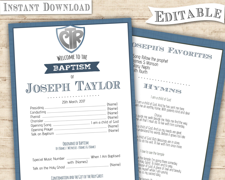 LDS Baptism Program Boy, Printable Invitation, CRT Blue Navy Green, Boy  Baptism Program, Editable Template