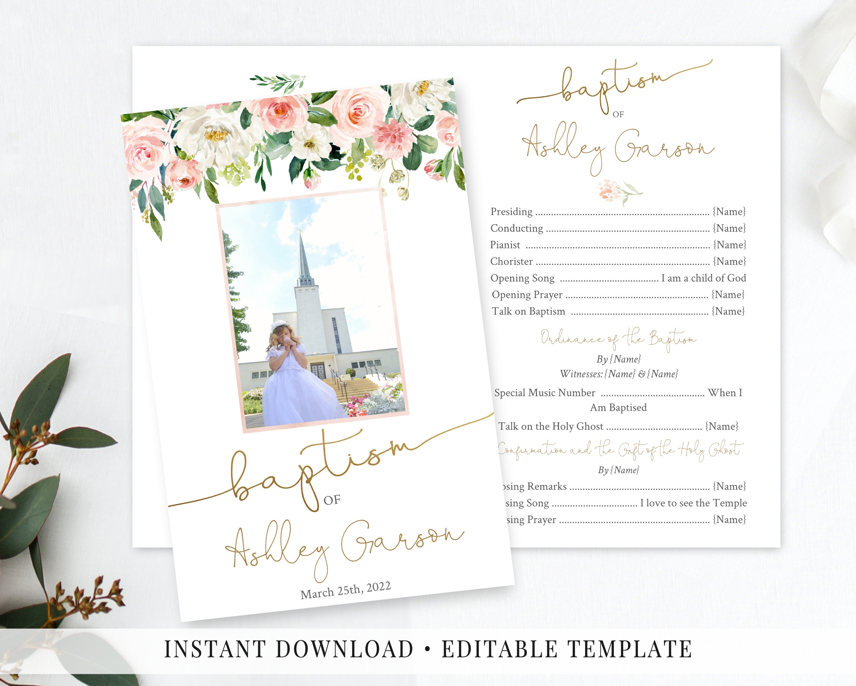 Greenery Olive Leaves GOG8 Gold Calligraphy Girl baptism Program Editable Template LDS Baptism Program Printable