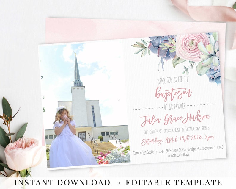 Baptism Invitation, Printable Invitation, for Girls, LDS Baptism  Invitation, Editable Template