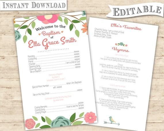 Baptism Program Girl Printable LDS Floral
