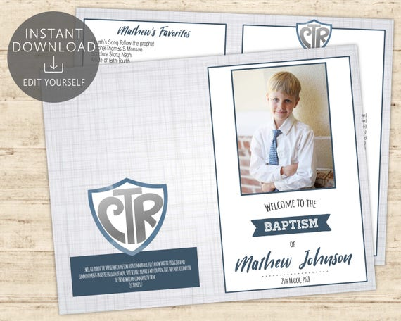 LDS Baptism Program Printable Boy With Picture Editable Template CTR Grey Navy