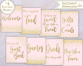 Baby Shower Signs Kit Set Editable Baby Signs PDF Template Signs Baby Pink  Gold Confetti Posters