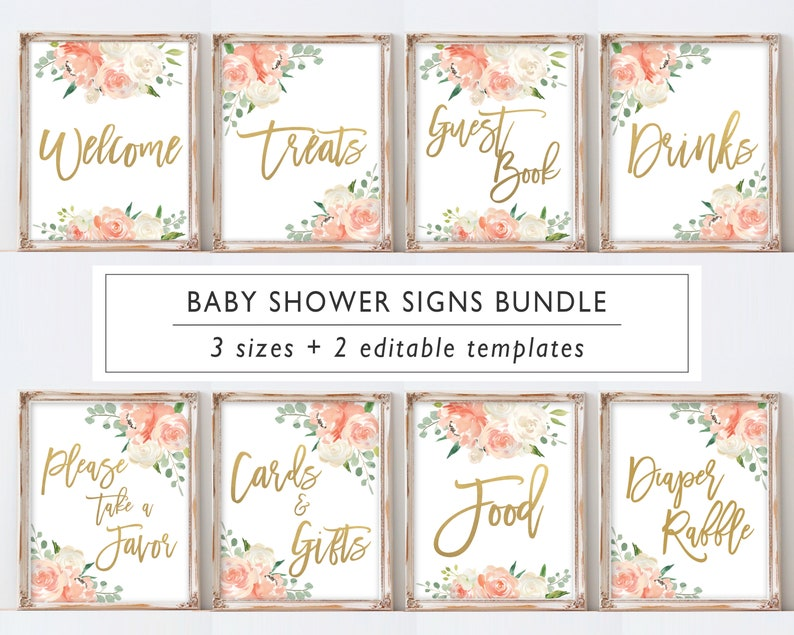b4c63709cc2d7 Baby Shower Signs Bundle Printable, baby Shower decor, Peach Cream Gold  Watercolor Floral, Baby Shower Signage, BP08