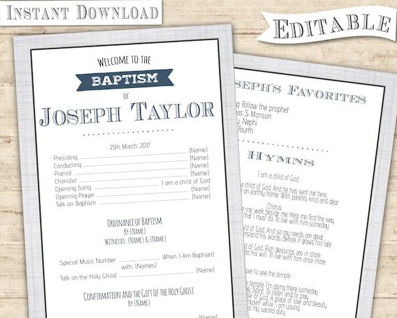 LDS Baptism Program Boy Printable Invitation CRT Blue Navy Grey Editable Template