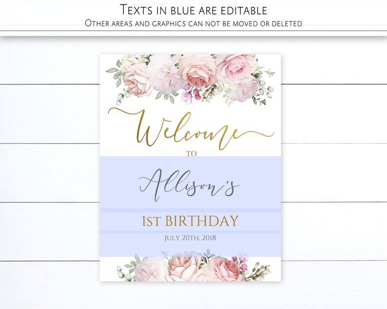 Editable Template Gold Calligraphy Romantic Blush Floral Birthday Welcome Sign Printable