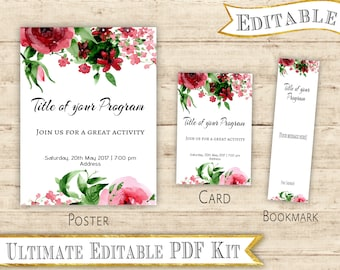 Editable PDF Template Invitation/Flyer +  Sign + Bookmarks Reliefe Society LDS Activity Set for any occasion Editable LDS Floral Printable