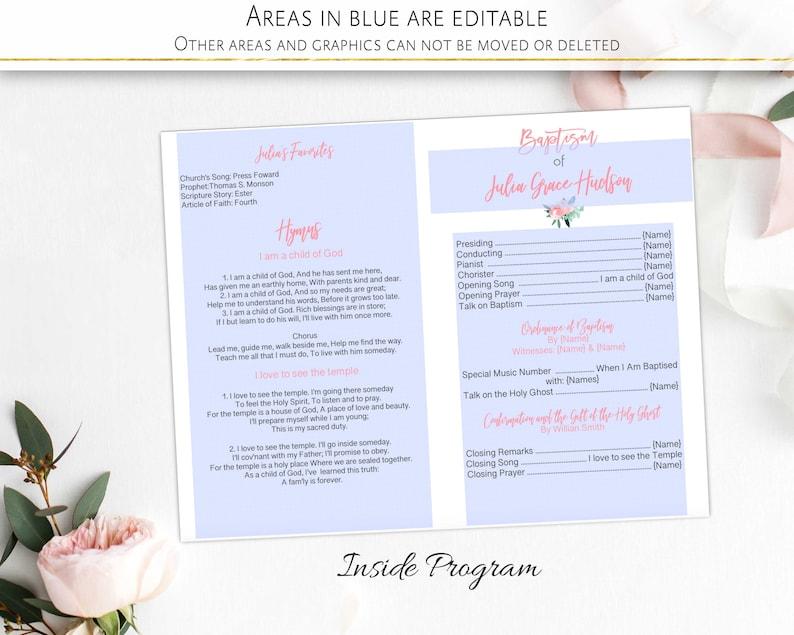 Baptism program Floral Blush Pink Mint printable program LDS baptism Girl Editable Template