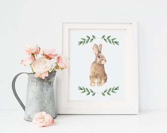 Bunny Easter Digital Print, Happy Easter Printable, Easter Art Print, Printable Art, Digital Art, Instant Download, Wall Decor