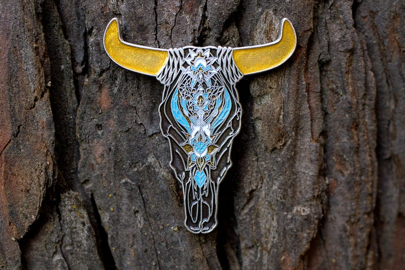 Carved Cow Enamel Pin image 0