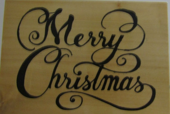Merry Christmas In Cursive.Large Cursive Merry Christmas Wood Mounted Rubber Stamp By Anita S