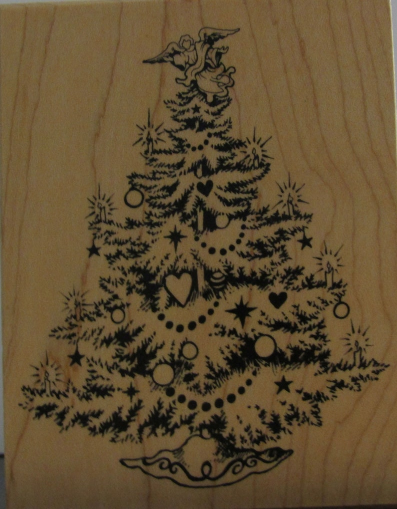 Wood Mounted Christmas Tree Rubber Stamp