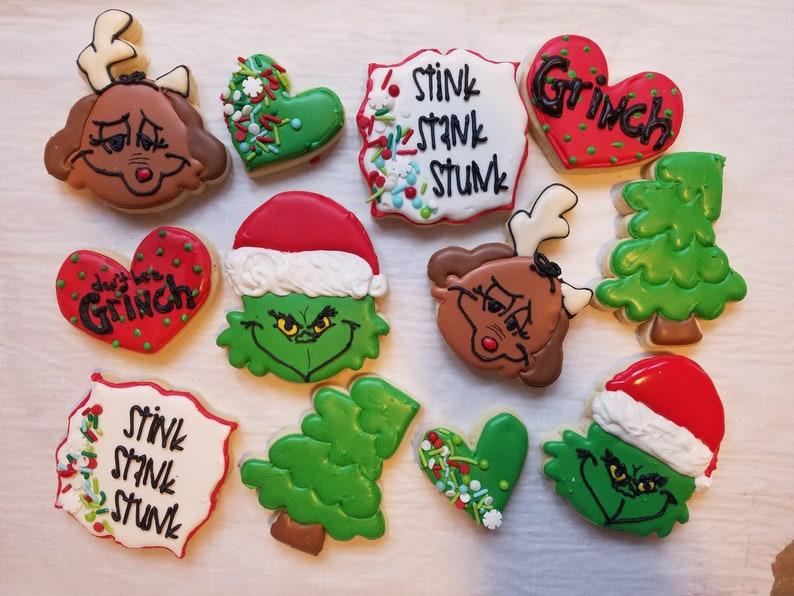 One Dozen Grinch Christmas Cookies
