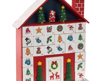 wooden traditional house advent calendar a unique gift to be used for many years personalised with engraved plate - Wooden Christmas Advent Calendar