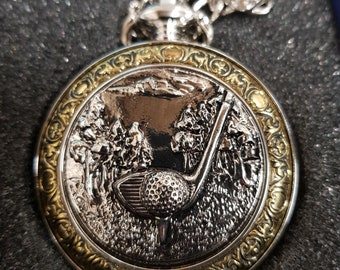 8a36205f6 Golf Pocket Watch, Single Door. Engraved with your message, perfect gift  for a golfer or anniversary present.