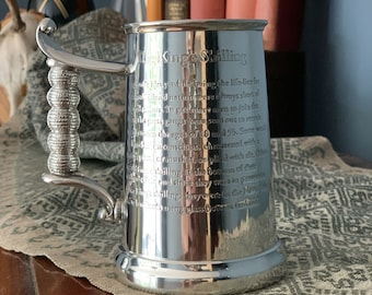 1 Pint Kings Shilling Pewter Tankard with Glass Base & shilling - engraved with your message - Groom - Father's Day - Anniversary