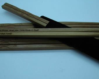 Bamboo Chopsticks - Perfect for parties and weddings, engraved with your message. Sets of five upwards!