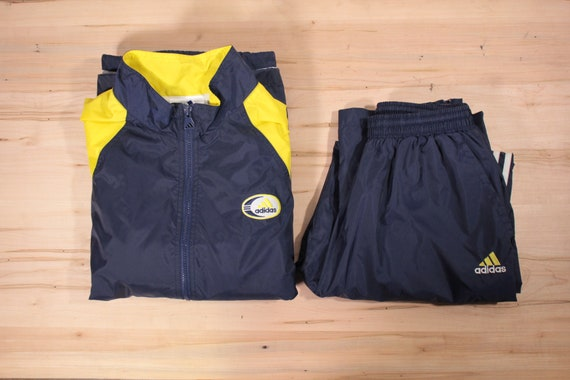 Adidas Track suit blue/yellow size small