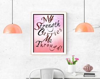 """Strength Quote 11X14"""" Canvas Frame, Affirmation, Inspirational Quote, Motivational Quote Wall Art, Home Decor, Printable Word Art, Gift"""