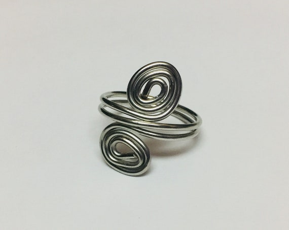 Silver Swirl Ring, Wire Wrapped Ring, Ring Jewellery, Ring for women, Swirly Ring, Handmade Jewelry, Boho Rings, Rings for he, Gift for mom