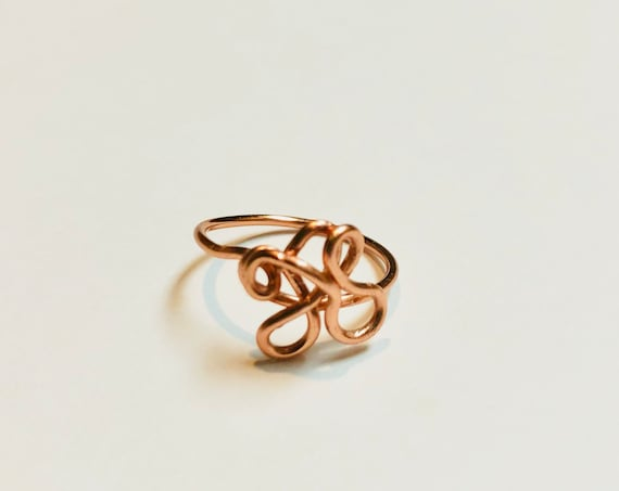 Floral Copper Ring, Wire Wrapped Ring, Ring Jewellery, Ring for women, Size 8 Ring, Handmade Jewelry, Boho Rings, Rings for her, Ring Gift