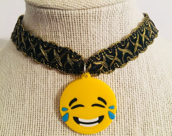Emoji Choker Necklace, Unique Handmade Necklace, Emoji Charm Jewellery, Black and Gold Lace Choker, Lace Trim Jewelry,  Buckle Jewelry, Gift