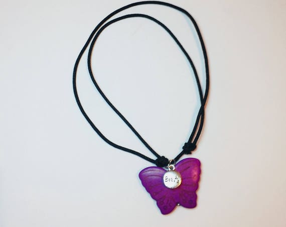 Butterfly Necklace, Choker, Inspirational Charm Jewellery, Adjustable Black Cord Necklace, Handmade Necklace, Slip knot Jewelry