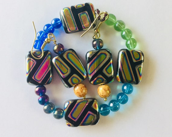 Multicolored Glass Beads Jewelry Set, Bracelet and Earrings, Handcrafted beads, Jewellery, Gift for mom, Gift for her, custom made, unique