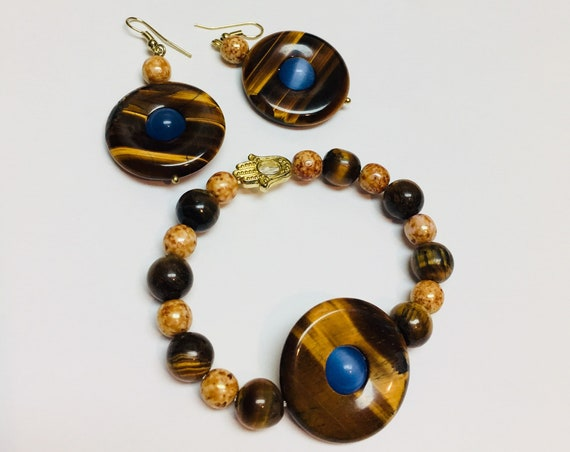 Tigers eye and cats eye Jewelry Set, Bracelet and Earrings, gemstone, beads, Handcrafted, Jewellery, Gift for mom, Gift for her, custom made