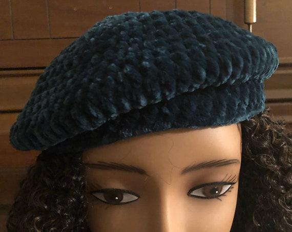 Crochet Velvet Beret, Small Beanie, Medium Beret, handmade hat, Festive Hat, Stylish Winter Hat, Gift for her