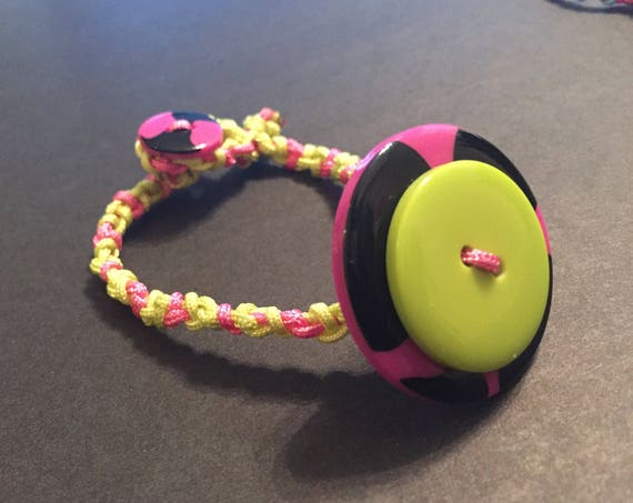 Double Button Bracelet, Knotted Cord Bracelet, Multicolor Bracelet, Handmade Jewellery, Custom Bracelet, Unique Jewelry, Pink, Green, black