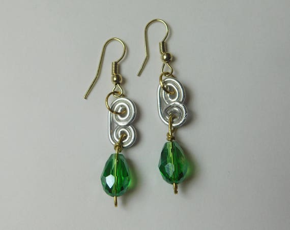 Jade and Silver Dangling Earrings, Bead earrings, Handcrafted Jewelry, Jewellery for her, Gift for Mom, Gift for her, Silver Swirls