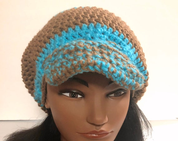 Tam with bill, blue and brown Handmade Crochet hat, Slouchy Hat, Beanie, Adjustable wool hat, Stylish Winter Hat,