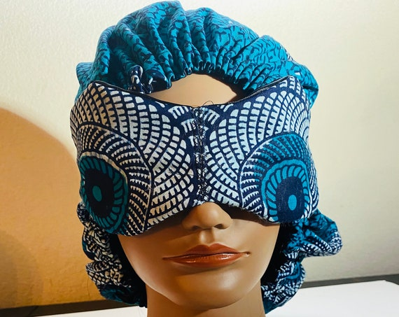 Satin Bonnet and Sleep Mask, Night Mask, double layered bonnet, Night cap, Satin Cap, Ankara, Gift set, bonnet for natural hair
