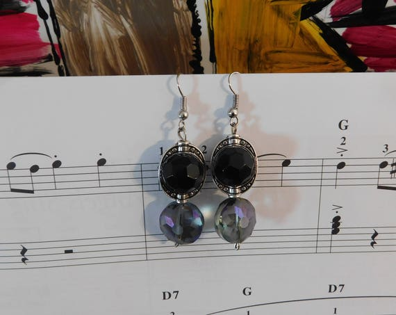 Silver and Beads Earrings, Handcrafted Jewelry, Dangling Earrings, Jewellery for her, Gift for Mom, Gift for her, Black and Purple Rondelle