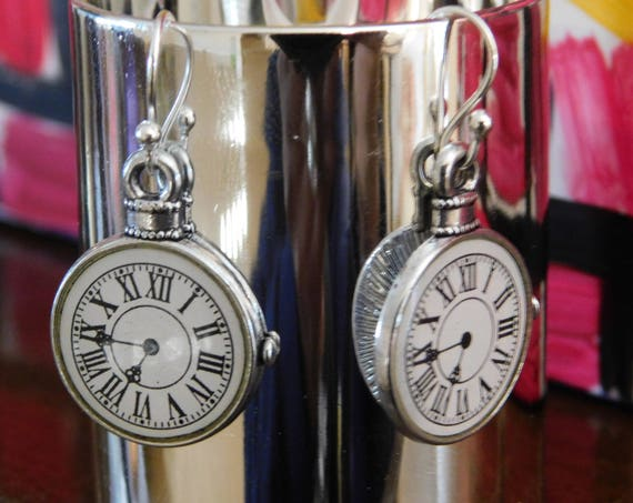 Clock Dangling Earrings, Silver and white Earrings, Handmade Jewellery, Custom Made Earrings, Silver Accessories, Gift for mom, Gift for her