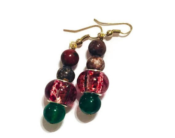 Red Glass bead Sandstone Gem Earrings, Dangling Earrings, Handmade Earrings, Custom Made Jewelry, Colored gemstones Jasper Stone, Jade Stone