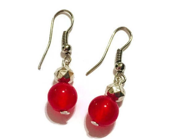 Red Jade Silver Drop Earrings, Dangling Earrings, Jewellery, Jewelry, Handmade Earrings, Gift for Mom, Semi-precious Gemstone, Custom Made